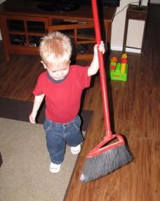 Caleb sweeping